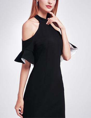 2018 New Style Halter Cold Shoulder Knee Length Black Homecoming Dress