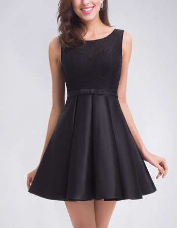2018 New A-Line Sleeveless Short Satin Homecoming/ Little Black Dress