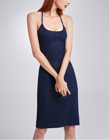 Sexy Sheath Spaghetti Straps Knee Length Sequin Homecoming Dresses