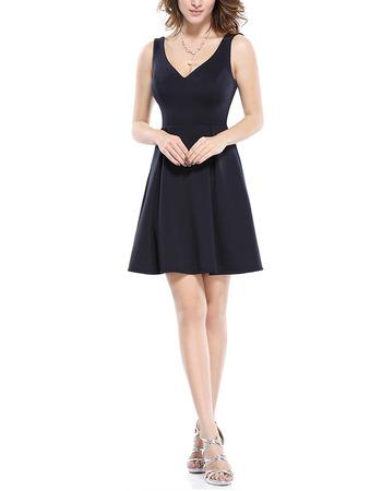 Discount A-Line V-Neck Mini/ Short Satin Homecoming/ Party Dresses