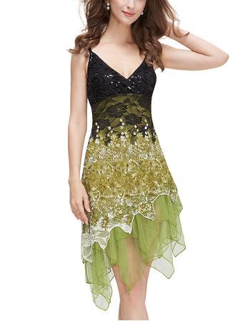 Sexy Spaghetti Straps V-Neck Asymmetric Lace Homecoming Dresses