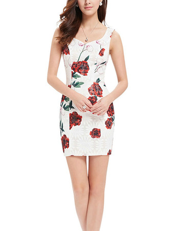 Inexpensive Sheath Sweetheart Short Printed Satin Homecoming Dresses