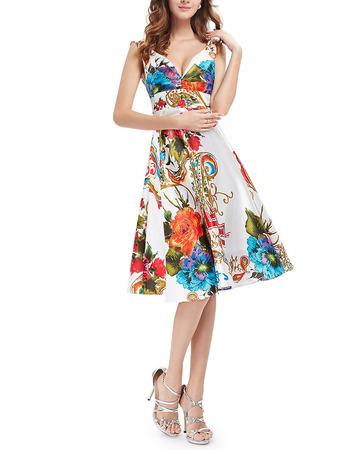 Sexy A-Line V-Neck Knee Length Printed Satin Homecoming Dresses
