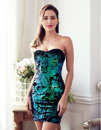 Sexy Sheath Sweetheart Mini/ Short Satin Sequin Homecoming Dresses