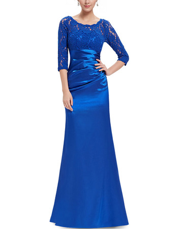 2018 New Long Satin Mother Dresses with 3/4 Long Lace Sleeves