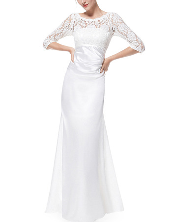 Custom Floor Length Satin Mother Gowns with 3/4 Long Lace Sleeves
