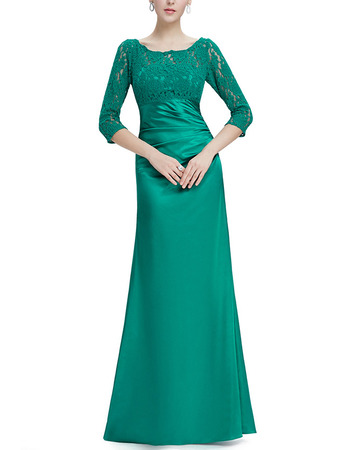 2018 New Style Long Satin Mother Gowns with 3/4 Long Lace Sleeves