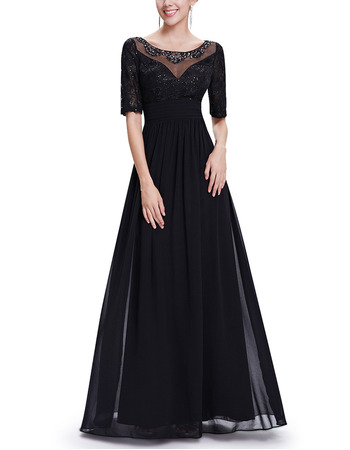 Custom A-Line Floor Length Chiffon Mother Dresses with Half Sleeves