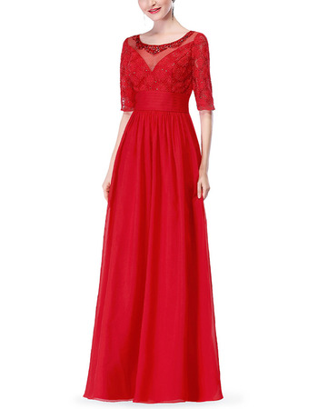 2018 New Floor Length Chiffon Mother Dresses with Half Sleeves