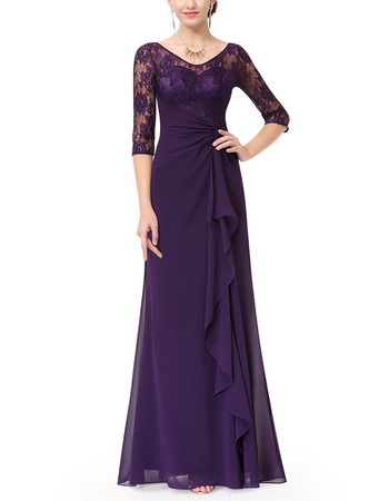 Elegant Long Chiffon Mother Dresses with Half Lace Sleeves & Ruffle