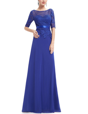 2018 Style Long Chiffon Mother Dresses with Half Lace Sleeves & Belts
