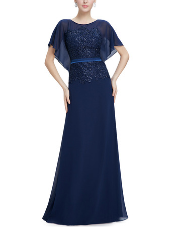 Custom Floor Length Chiffon Mother Dresses with Cap Sleeves & Belts