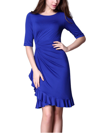 Affordable Sheath Short Satin Mother Dresses with Half Sleeves