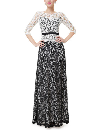 Discount Lace Black & White Mother Dresses with Half Sleeves