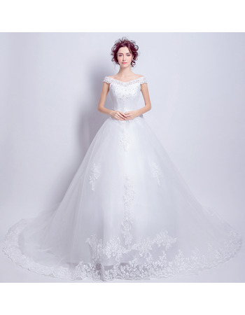 Elegant Off-the-shoulder Cathedral Train Organza Wedding Dresses