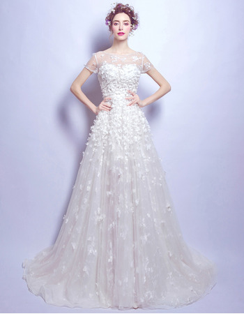 Custom Sweep Train Organza Applique Wedding Dresses with Short Sleeves