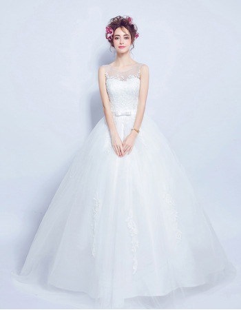 Discount Ball Gown Sleeveless Floor Length Satin Wedding Dresses