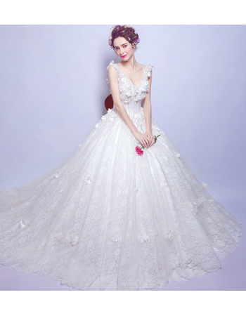2018 New Style V-Neck Sleeveless Chapel Train Lace Wedding Dresses