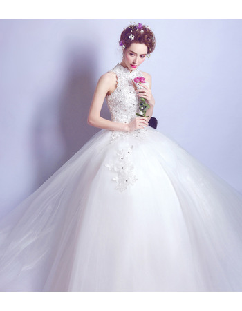 Custom Ball Gown Mandarin Collar Sleeveless Floor Length Wedding Dress