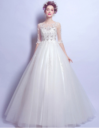 Inexpensive Floor Length Organza Wedding Dresses with Half Sleeves