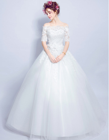Elegant Off-the-shoulder Long Wedding Dresses with Half Sleeves