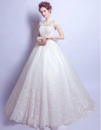 Custom Mandarin Collar Floor Length Wedding Dresses with Short Sleeves