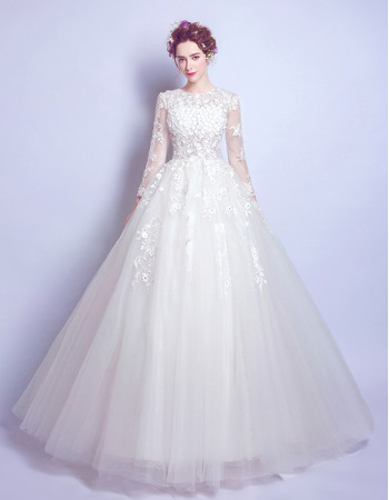 Custom A-Line Floor Length Organza Wedding Dresses with Long Sleeves