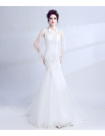 2018 New Style Mermaid Chapel Train Wedding Dress with Organza Shawl