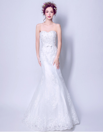 Affordable Mermaid Sweetheart Floor Length Organza Wedding Dresses