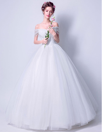 Discount Ball Gown Off-the-shoulder Floor Length Wedding Dresses