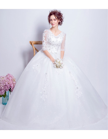 Elegant Ball Gown Floor Length Wedding Dresses with Half Sleeves