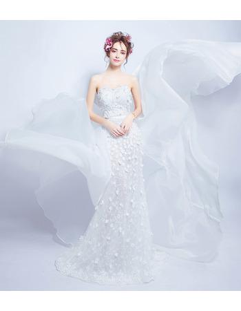 Custom Sheath Sweetheart Applique Wedding Dress with Court Train