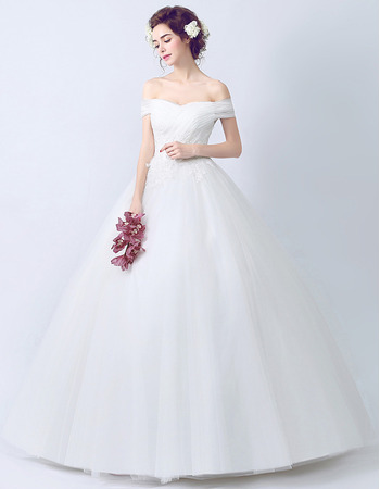 Inexpensive Ball Gown Off-the-shoulder Floor Length Wedding Dresses