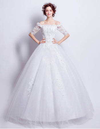2018 Ball Gown Off-the-shoulder Wedding Dresses with Half Sleeves