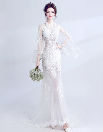 Custom Sheath Long Hollow Out Wedding Dresses with Long Sleeves