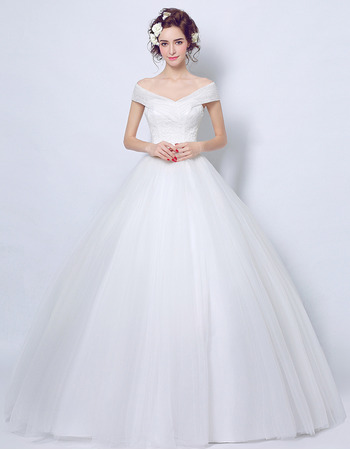 Affordable Ball Gown Off-the-shoulder Floor Length Wedding Dresses