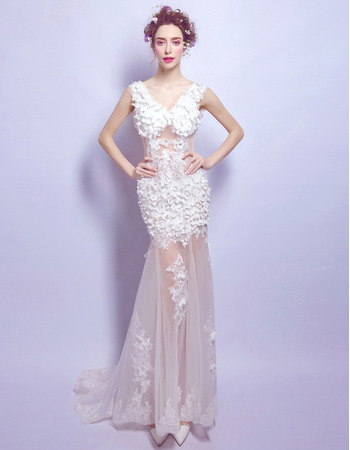 Custom Sheath V-Neck Floor Length Organza Applique Wedding Dresses