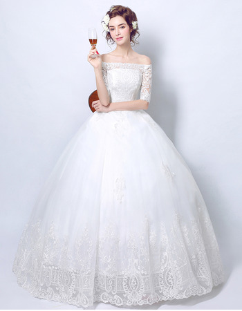Elegant Ball Gown Off-the-shoulder Wedding Dresses with Half Sleeves