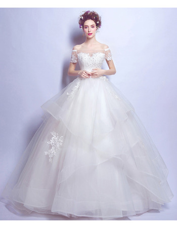 2018 Ball Gown Off-the-shoulder Wedding Dresses with Short Sleeves