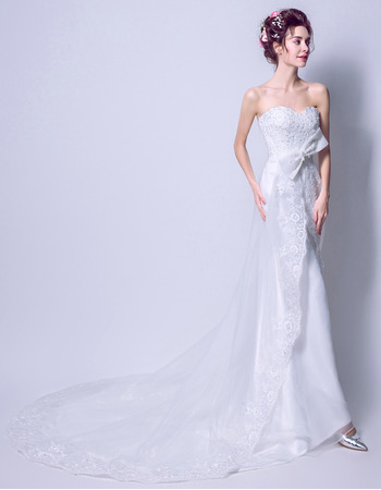 Custom Sheath Sweetheart Sleeveless Sweep Train Satin Wedding Dresses