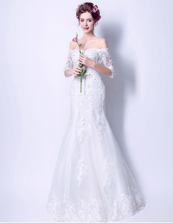 Affordable Trumpet Off-the-shoulder Wedding Dresses with Half Sleeves