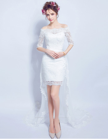 Casual Off-the-shoulder High-Low Wedding Dresses with Half Sleeves