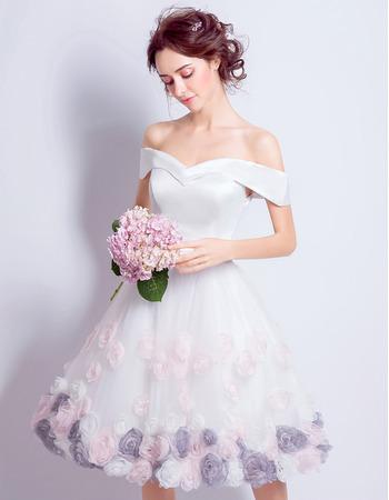 Custom A-Line Off-the-shoulder Knee Length Floral Wedding Dresses