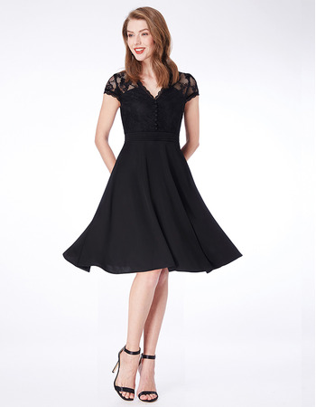 Vintage Knee Length Chiffon Black Bridesmaid Dress with Short Sleeves