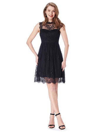 2019 New Sleeveless Mini/ Short Chiffon Lace Black Bridesmaid Dresses