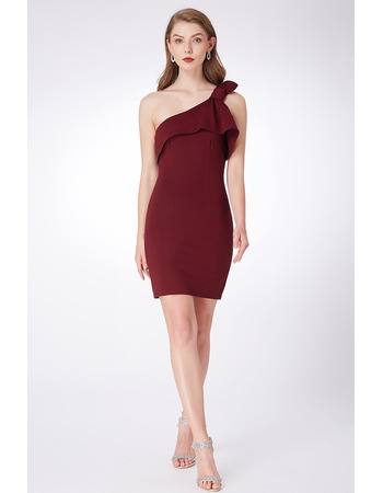 Custom Sheath One Shoulder Mini/ Short Satin Bridesmaid Dresses
