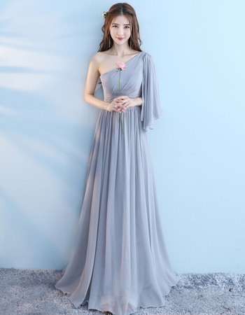 2019 New One Shoulder Floor Length Chiffon Bridesmaid Dresses