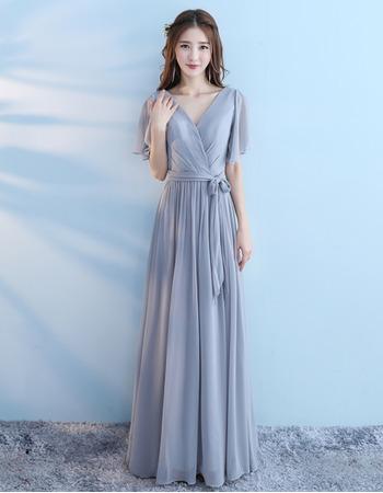 Custom V-Neck Short Sleeves Floor Length Chiffon Bridesmaid Dresses