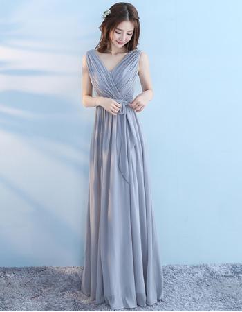 Elegant V-Neck Sleeveless Floor Length Chiffon Bridesmaid Dresses