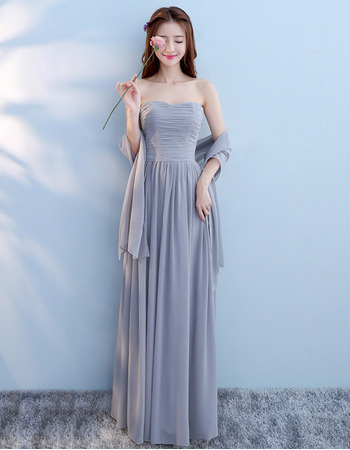 Custom Strapless Floor Length Chiffon Lace-Up Bridesmaid Dresses